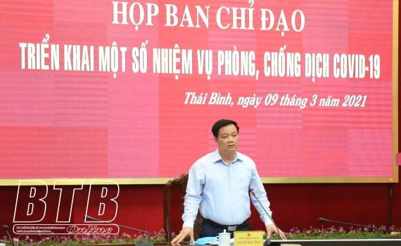 Chủ tịch UBND tỉnh Thái Bình chỉ đạo tại cuộc họp chiều hôm 9/3. Ảnh: Báo Thái Bình
