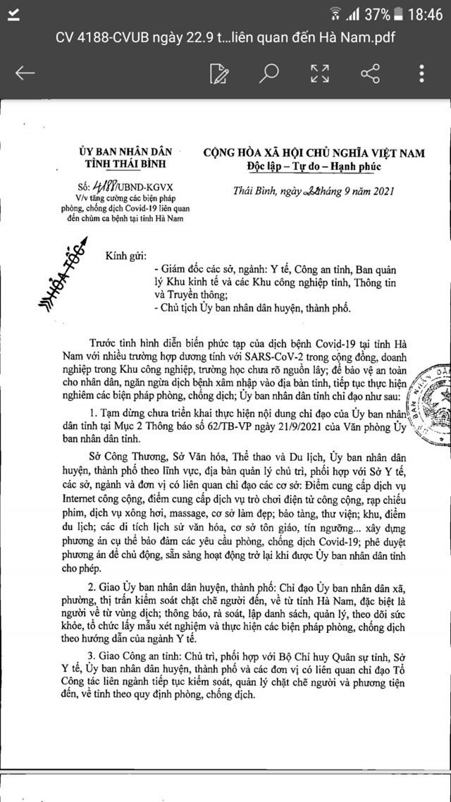 """Văn bản chỉ đạo """"phanh gấp"""" của UBND tỉnh Thái Bình."""