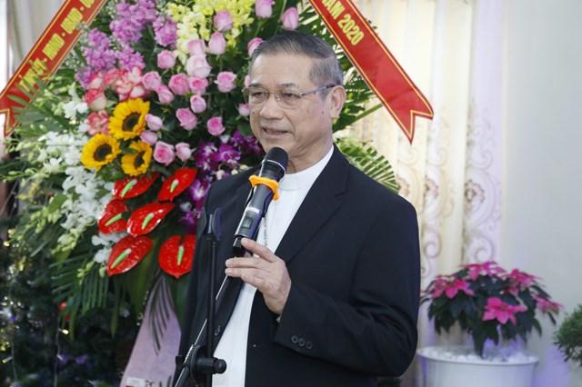 Giám mục Tôma Vũ Đình Hiệu, Giám mục Giáo phận Bùi Chu phát biểu, bày tỏ cảm ơn sự quan tâm của lãnh đạo Đảng, Nhà nước, MTTQ Việt Nam. Ảnh: Quang Vinh.