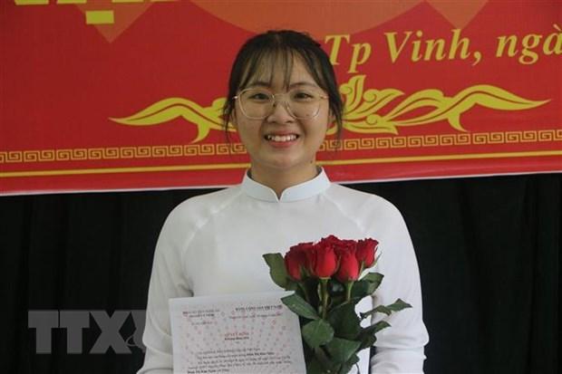 Thủ khoa khối C toàn quốc năm 2021 Đinh Thị Kim Ngân. (Ảnh: Bích Huệ/TTXVN)