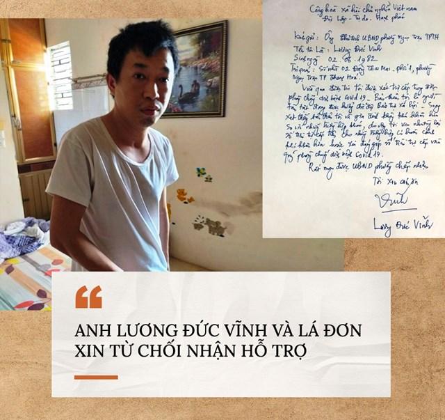 Lá đơn xin từ chối nhận hỗ trợ của anh Lương Đức Vĩnh.