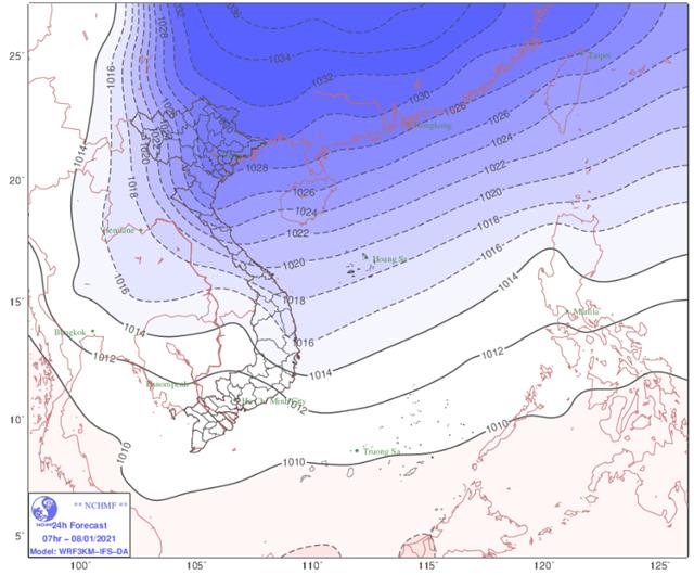 Không khí lạnh tăng cường từ rạng sáng ngày 8/1. (Nguồn: TTKTTV)