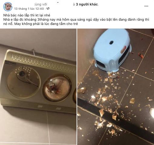 Bài đăng về sự cố nổ đèn sưởi của người dùng. (Nguồn: FBNV)