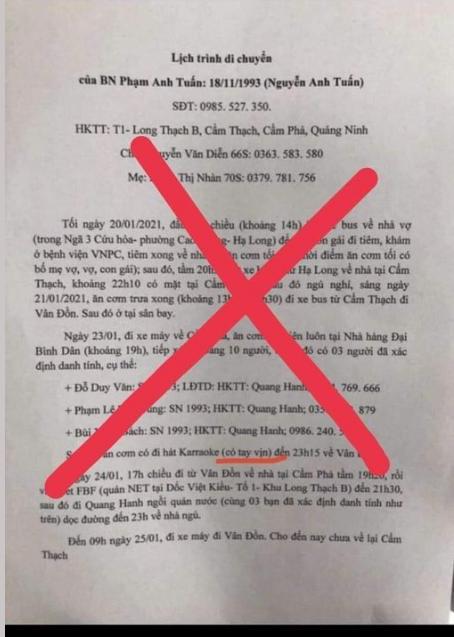 Văn bản kê khai lịch trình di chuyển của bệnh nhân Phạm Anh Tuấn là không đúng sự thật. (Nguồn: Sưu tầm)