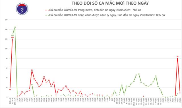 Diễn biến số ca mắc Covid-19 tại Việt Nam tính đến sáng ngày 29/1.