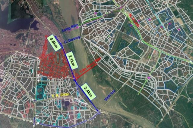 Vị trí cầu Trần Hưng Đạo bắc qua Sông Hồng,dự kiến sẽ nằm giữa cầu Chương Dương và cầu Vĩnh Tuy.