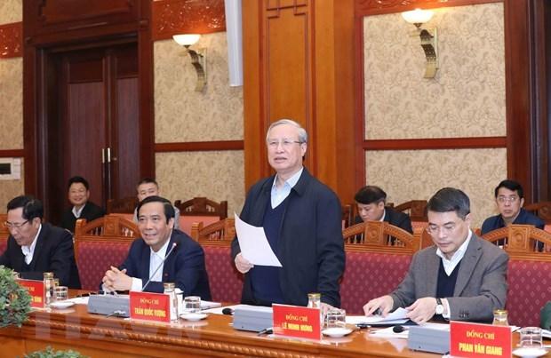 Ông Trần Quốc Vượng, Ủy viên Bộ Chính trị, Thường trực Ban Bí thư, chủ trì Hội nghị. Ảnh: Phương Hoa/TTXVN.