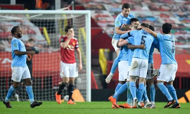 Man City vượt qua MU để vào chung kết League Cup. Ảnh: Getty.