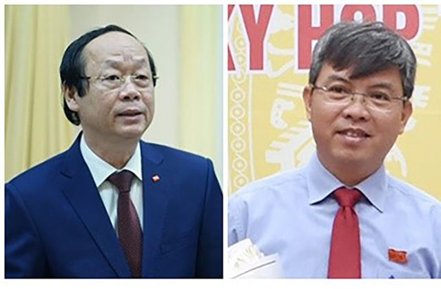 Thứ trưởng Bộ Tài nguyên và Môi trường Võ Tuấn Nhân (ảnh trái); Phó Chủ tịch UBND tỉnh Kiên Giang Nguyễn Lưu Trung.