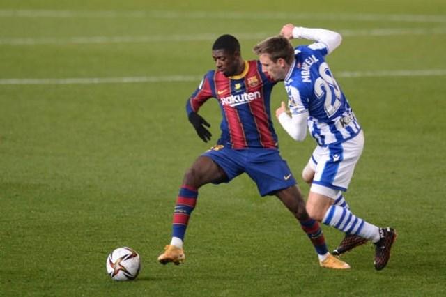 Các cầu thủ trẻ của Barca đã có trận đấu vô cùng vất vả khi Messi vắng mặt. Ảnh: Getty.