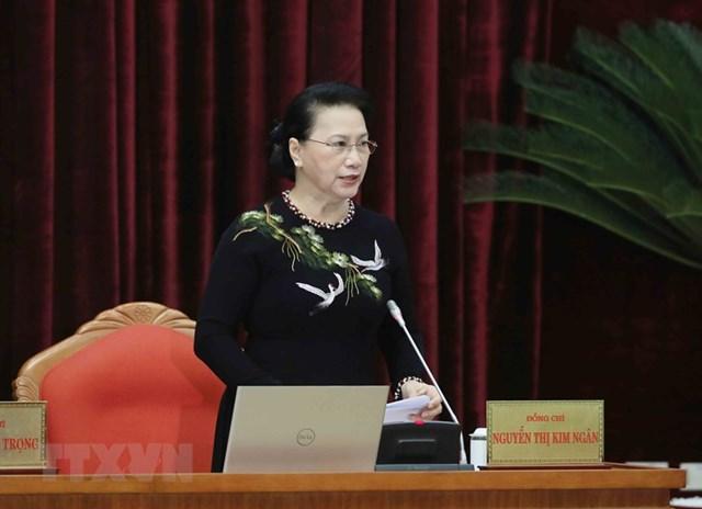 Ủy viên Bộ Chính trị, Chủ tịch Quốc hội Nguyễn Thị Kim Ngân điều hành phiên họp sáng 16/1. Ảnh: Phương Hoa/TTXVN.