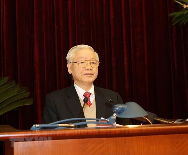 Tổng Bí thư, Chủ tịch nước Nguyễn Phú Trọng phát biểu khai mạc Hội nghị. Ảnh: Trí Dũng/TTXVN.