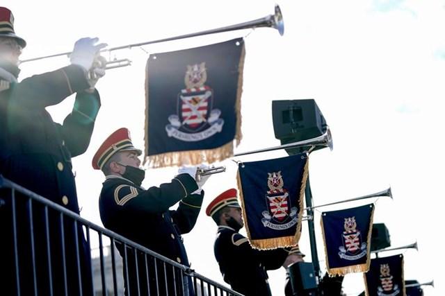 Dàn Quân nhạc Mỹ biểu diễn trong một buổi diễn tập.
