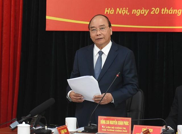 Thủ tướng Nguyễn Xuân Phúc phát biểu tại buổi làm việc. Ảnh: VGP.