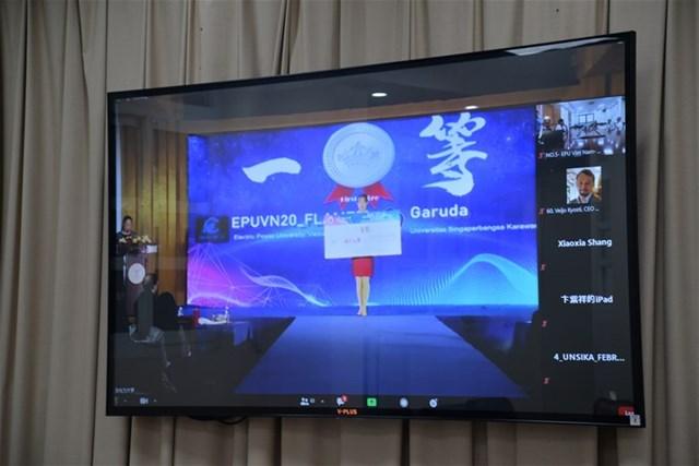 Hình ảnh EPU được ghi dấu qua hình thức online tại lễ trao giải cuộc thi Mô phỏng Quyết định kinh doanh Thị trường điện năm 2020.