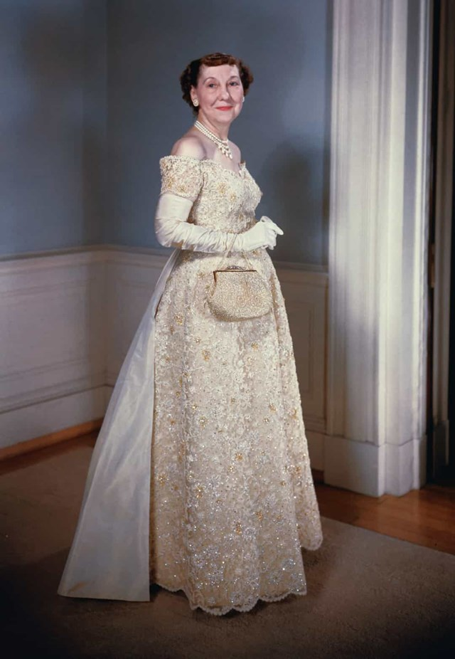 Mamie Eisenhower trong lễ nhậm chức lần thứ hai của chồng vào năm 1957.