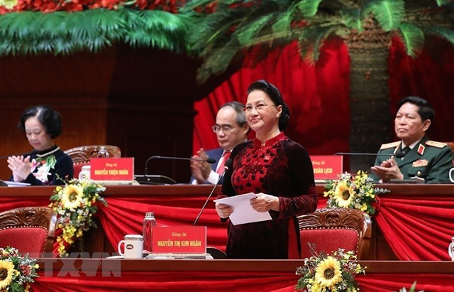 Ủy viên Bộ Chính trị, Chủ tịch Quốc hội Nguyễn Thị Kim Ngân thay mặt Đoàn Chủ tịch điều hành Đại hội. Ảnh: TTXVN.