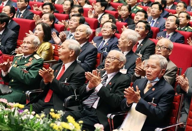 Các lão thành cách mạng là đại biểu khách mời dự phiên khai mạc Đại hội. Ảnh: TTXVN.