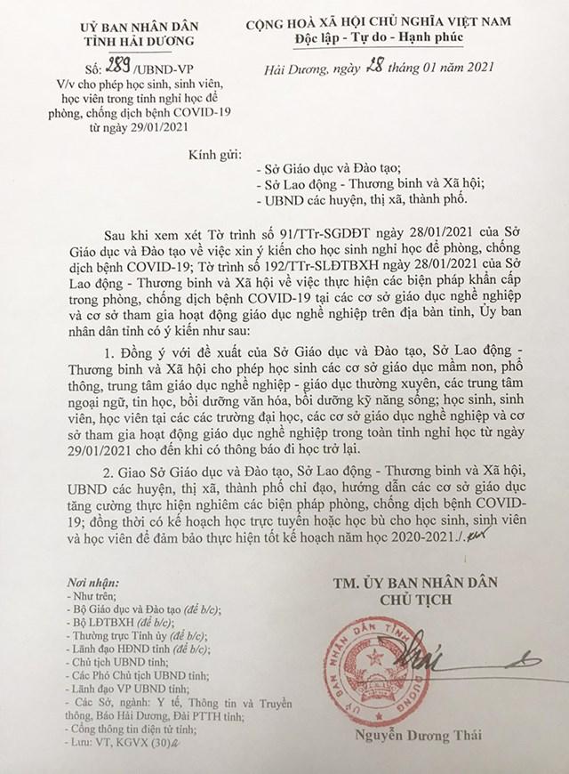 Văn bản chỉ đạo của UBND tỉnh Hải Dương cho phép học sinh, sinh viên nghỉ học từ ngày 29/1.