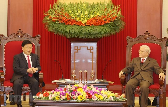Tổng Bí thư, Chủ tịch nước Nguyễn Phú Trọng tiếp Bộ trưởng Bộ Công an Trung Quốc Triệu Khắc Chí. Ảnh: TTXVN.
