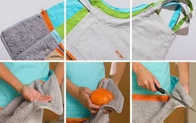 Tạp dề có khăn có thể tháo rời.