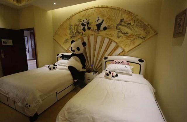 """Nhà trọ Panda, Trung Quốc là khách sạn theo chủ đề gấu trúc, khách sạch này sẽ không hoàn thiện nếu không có nhân viên mặc trang phục gấu trúc. Các phòng cũng trưng bày các chủ đề khác nhau, bao gồm """"Titanic"""" và """"Sailor Moon""""."""