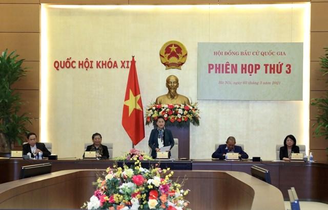 Chủ tịch Quốc hội Nguyễn Thị Kim Ngân phát biểu kết luận phiên họp. Ảnh: Quang Vinh.