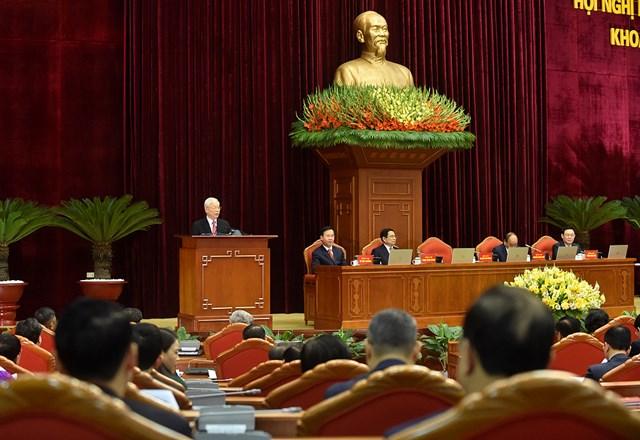 Thay mặt Bộ Chính trị, Ban Bí thư, Tổng Bí thư, Chủ tịch nước Nguyễn Phú Trọng phát biểu khai mạc Hội nghị.