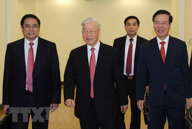 Tổng Bí thư, Chủ tịch nước Nguyễn Phú Trọng và các lãnh đạo Đảng, Nhà nước đến dự hội nghị. Ảnh: Trí Dũng/TTXVN.
