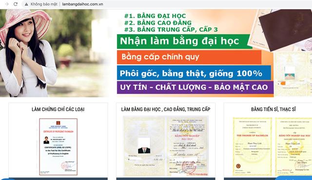 """Trang web """"lambangdaihoc.com.vn"""" công khai thông tin nhận làm bằng giống 100%."""