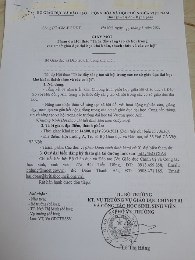 Văn bản thể hiện Phó Vụ trưởng Lê Thị Hằng ký thừa lệnh sai quy định.