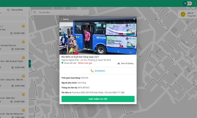 Các thông tin về xe buýt được hiển thị trên bản đồ.