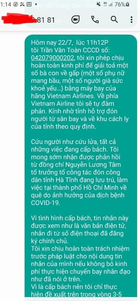 Tin nhắn ông Toàn gửi đến lãnh đạo ngành y tế Hà Tĩnh bày tỏ muốn được bỏ tiền thuê máy bay chở người dân về quê.