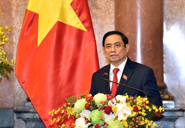 Thủ tướng Chính phủ Phạm Minh Chính phát biểu tại Lễ công bố thành viên Chính phủ nhiệm kỳ Quốc hội khóa XV, chiều ngày 28/7. Ảnh: VGP.