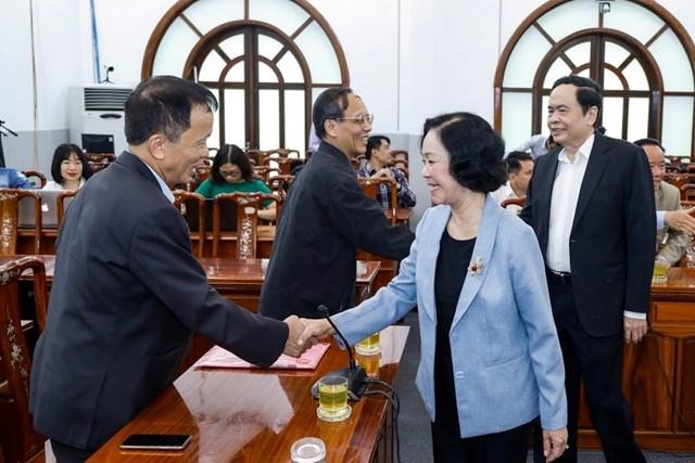 Trưởng ban Dân vận Trung ương Trương Thị Mai, Chủ tịch UBTƯ MTTQ Việt Nam Trần Thanh Mẫn và đại biểu tham dự Hội nghị.