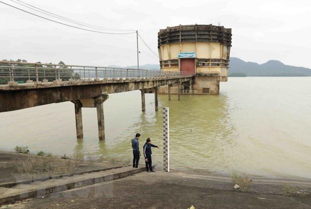 Mực nước ở hồ Kẻ Gỗ đang ở mức an toàn với cao trình ở 31,85 m, tương đương tổng dung tích là khoảng 326 triệu m3. (Ảnh: Vũ Sinh/TTXVN).