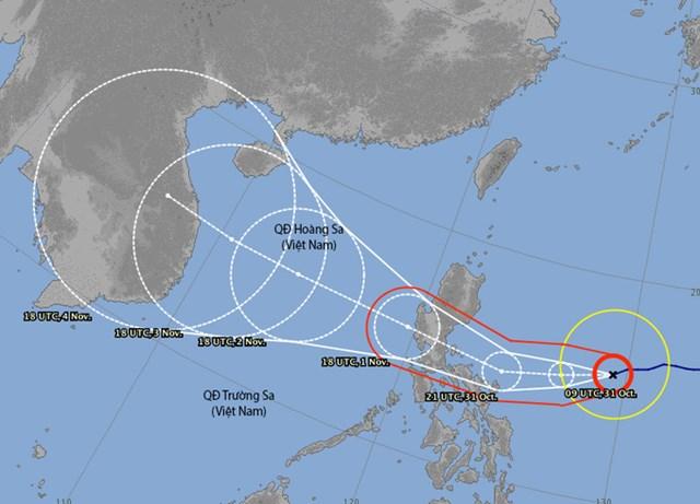 Dự báo hướng đi của bão Goni phát vào tối 30/10. Đồ họa: JMA.