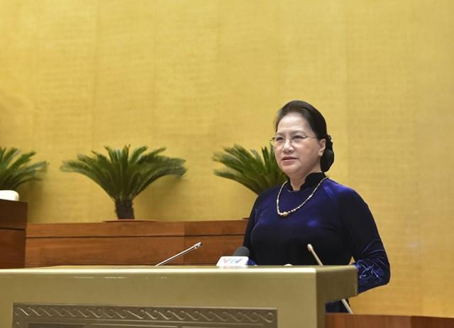 Chủ tịch Quốc hội Nguyễn Thị Kim Ngân phát biểu tại kỳ họp. Ảnh: Quochoi.vn.
