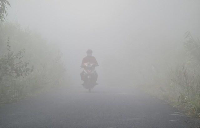 Hình ảnh thầy Là đi trong màn sương sớm từ điểm chính đến điểm cụm 8.