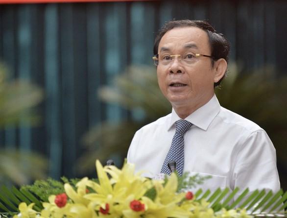 Bí thư Trung ương Đảng, Bí thư Thành ủy TP HCM Nguyễn Văn Nên phát biểu tại Hội thảo.
