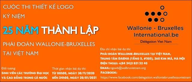 Thiết kế logo kỷ niệm 25 năm thành lập phái đoàn Wallonie - Bruxelles tại Việt Nam - Ảnh 1