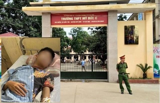 Hiện trường vụ việc và em học sinh bị thương.