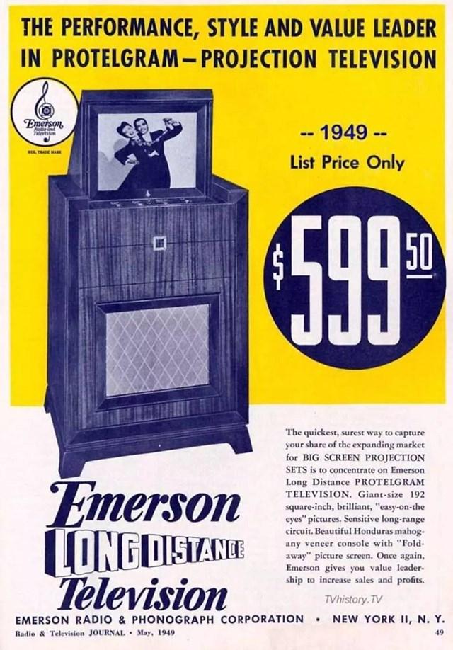 Bộ truyền hình của Tổng công ty phát thanh Emerso, năm 1949: 599,50 USD.