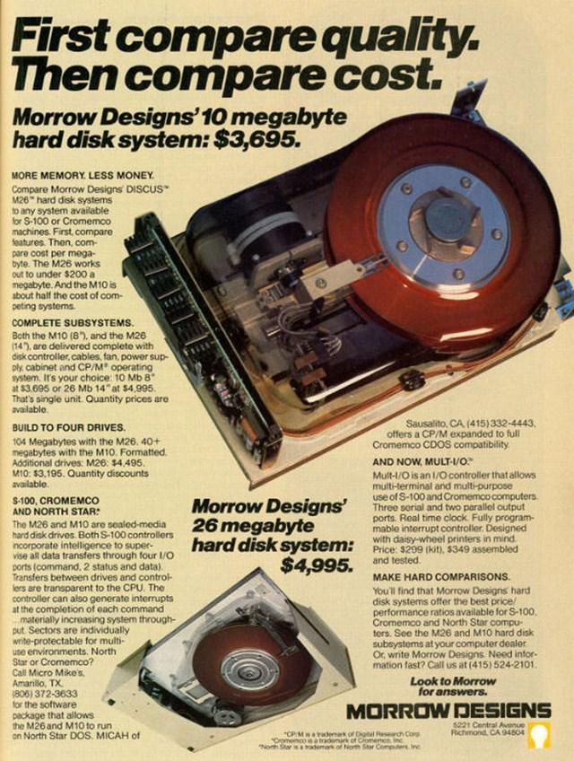 Hệ thống đĩa cứng 10 Megabyte: 3,695 USD.
