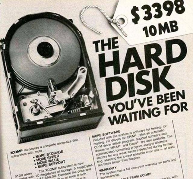 Đĩa cứng Xcomp 10mb: 3,398,00 USD.