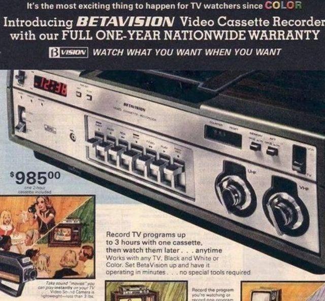 Máy ghi băng video Betavision: 985,00 USD.