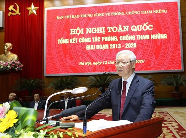 Tổng Bí thư, Chủ tịch nước Nguyễn Phú Trọng, Trưởng Ban Chỉ đạo Trung ương về phòng, chống tham nhũng phát biểu kết luận Hội nghị. Ảnh: TTXVN.