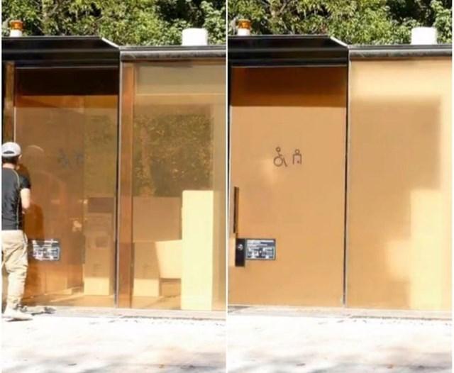 Những nhà vệ sinh này ở Nhật Bản được làm bằng thủy tinh trong suốt, có thể chuyển sang màu đục khi khóa từ bên trong.