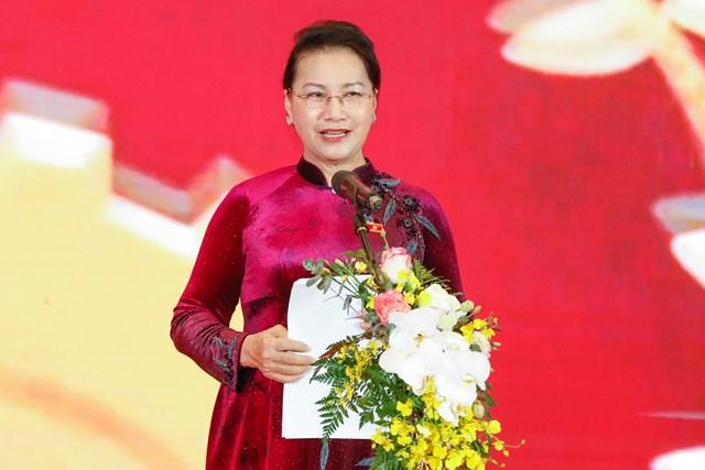 Chủ tịch Quốc hội Nguyễn Thị Kim Ngân phát biểu tại gặp mặt-Ảnh: Quang Vinh