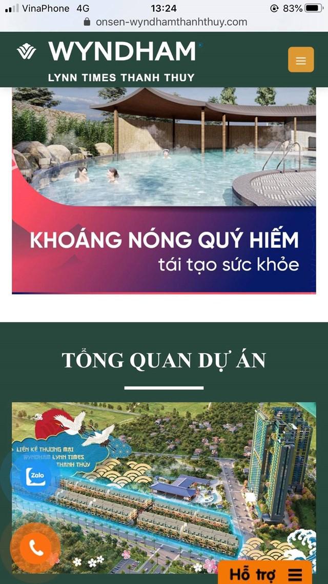 Quảng cáo về nguồn suối khoáng nóng tự nhiên để bán các căn hộ nghỉ dưỡng.